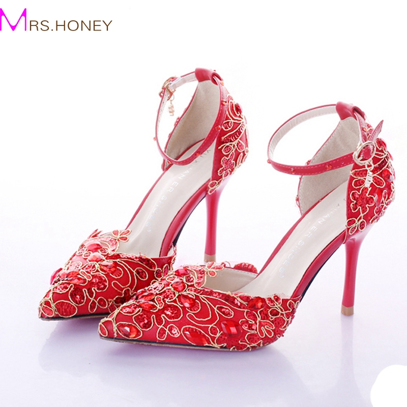 ФОТО Red Wedding Shoes Pointed Toe Ankle Strap Womens High Heels Genuine Leather Pumps Stilettos Bridal Dress Shoes 9cm Heels Pumps