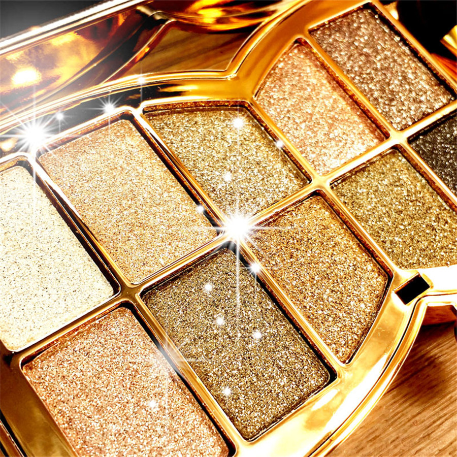 10Colors Flash Diamond Eyeshadow Nude Makeup Pallete Waterproof Luminous Glitter Cosmetics Eye Makeup Tools