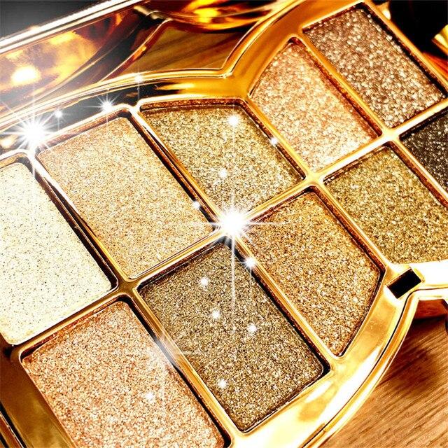 10Colors Flash Diamond Eyeshadow Nude Makeup Pallete Waterproof Luminous Glitter Cosmetics Eye Makeup Tools