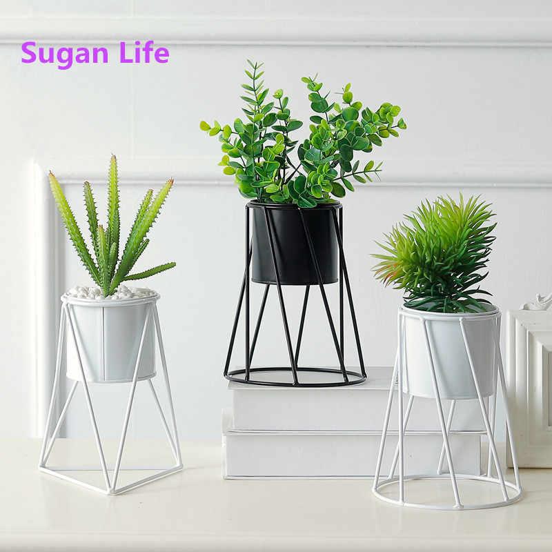 Sugan Life парный светильник из кованого железа в форме бриллианта геометрический цветочный каркас настенный подвесной мясистое растение стойка для цветочного горшка украшение дома
