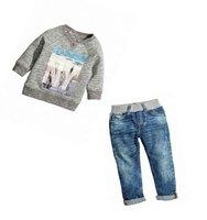 2016 Hot Sale Design Clothing Children Boys Clothes Set Autumn Spring Children S Long Sleeved Jeans