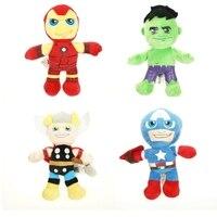 4 ADET Set 22 cm 38 cm Avengers Hulk Peluş Bebekler Superheros Kaptan amerika Iron Man Thor Hulk Dolması Oyuncaklar Çocuk Yumuşak Hediye oyuncaklar