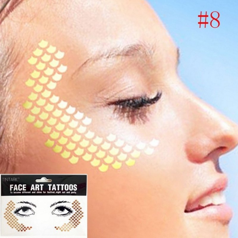 1pack Frecks Flash Tattoo Fashion Waterproof Blad Fish Scales Pattern Gold Face Tattoo Beauty Make Up Body Art Eye Shadow Decal