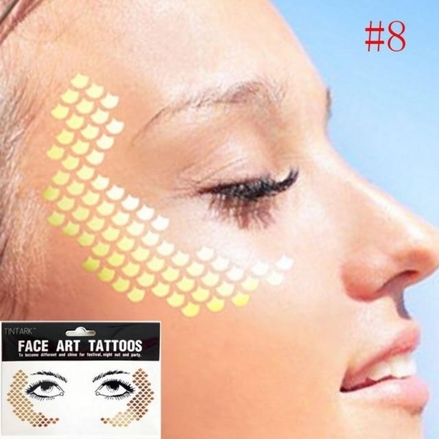 22f7cb11008bb 1pack Frecks Flash tattoo Fashion Waterproof blad Fish scales pattern Gold  Face Tattoo Beauty Make Up Body Art Eye shadow decal