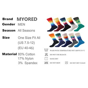 Image 5 - MYORED mens kleurrijke casual dress sokken gekamd katoen gestreepte plaid geometrische rooster patroon fashion design hoge kwaliteit