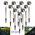 10pcs/Lot Stainless Steel LED Solar Light Outdoor Landscape Path Garden Light LED Solar Lamp lantern Decoration IP65 White Color