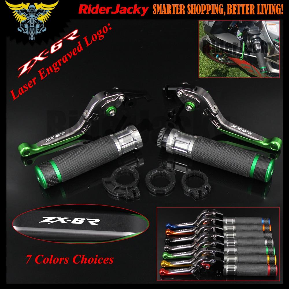 Motorcycle CNC Brake Clutch Lever Handle Grip Handlebar Hand Grips For Kawasaki ZX 6R ZX 6R