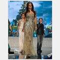 Мисс Universo Летние Pageant Платья Вечерние Русалка Золото щель Кристаллический Вышитый Бисером Кружево Тюля, Пром Платья Знаменитостей 2016 платья
