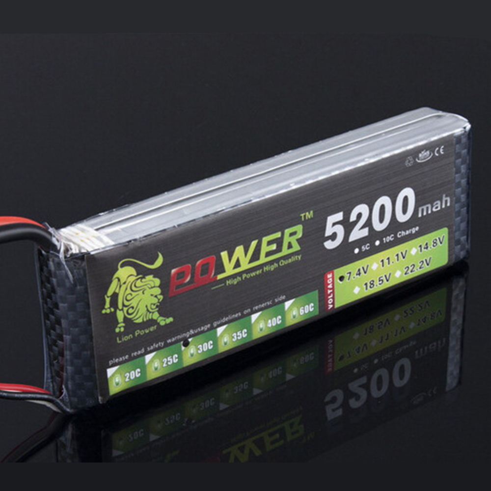 LION POWER Lipo Battery 7.4v 2S 5200mAh 25C Lipo Battery RC Helicopter RC Car Boat Quadcopter Remote Control Toys Parts