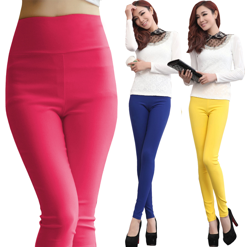 Plus Size 5XL 6XL Women Stretch Cotton Leggings Candy Color Female Skinny Pencil Pants High Waist Trousers Ladies Trousers White