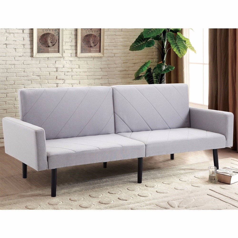 Giantex Futon Sofa Bed Convertible Recliner Couch Splitback Sleeper with Wood Legs Modern Living Room Furniture HW57254
