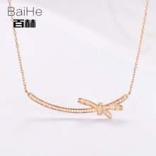 BAIHE Solid 14K Rose Gold 0.16ct Certified H/SI 100% Genuine Natural Diamond Round Women Trendy Fine Jewelry Elegant Necklaces