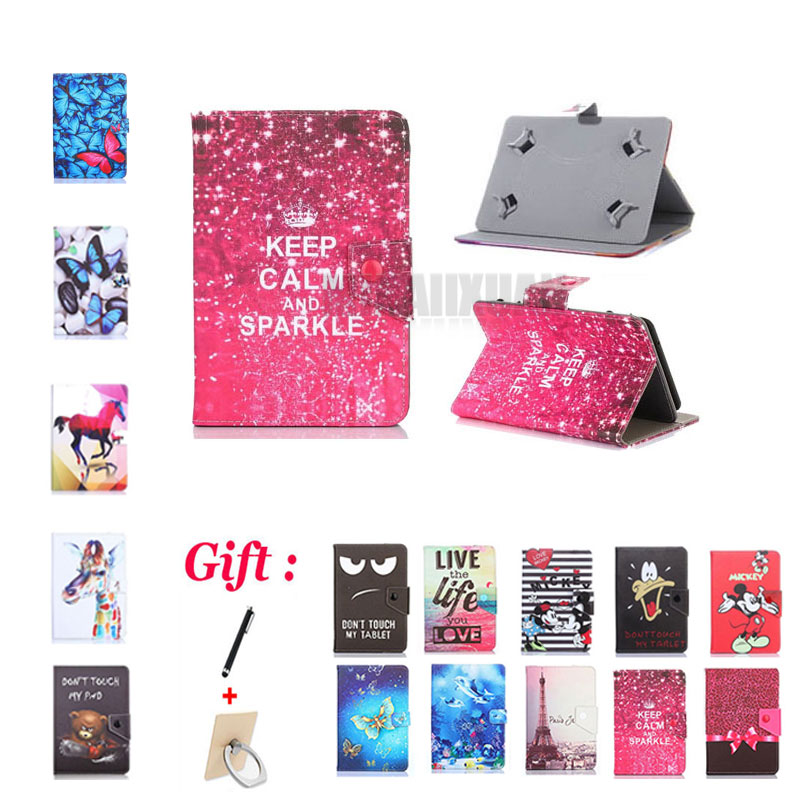 (No <font><b>camera</b></font> hole) Cartoon Cover for Prestigio MultiPad <font><b>Wize</b></font> 3047/3037/3038 3G 7 Inch Tablet Printed PU Leather Stand Case +2 Gift image