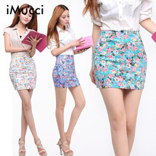 2016 5 colors Spring summer women Fashion Girl flower full Printing Short Skirts Elastic hip Skirt New M L size
