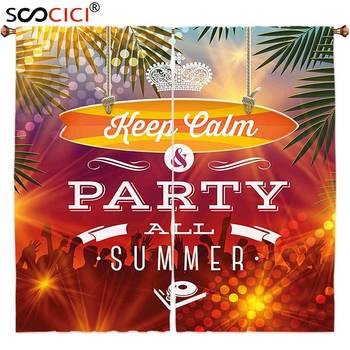 Window Curtains Treatments 2 Panels,Tropical Summer Holiday Party Greeting Pattern Palm Trees and a Crown Print Orange and Dark
