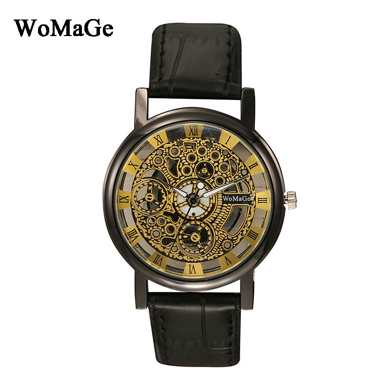 Top Brand Womage Ladies Watch Fashion Skeleton Unique Design Leather Wristwatches Strap Quartz Analog Women Watches montre femme polygon glass design analog wrist watch women fashion exquisite elegant quartz watches unique ladies leather strap girl gift