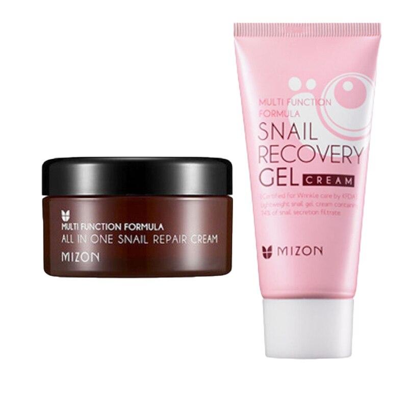 MIZON All In One Snail Repair Cream 30ml + MIZON Snail Recovery Gel Cream 45ml Face Cream Acne Treatment Best Korea Cosmetics