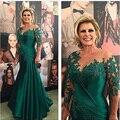 Verde Lace Apliques Sereia Longos Vestidos de Noite 2016 Mangas Compridas Mãe dos Vestidos de Noiva Formal Vestido robe de soiree