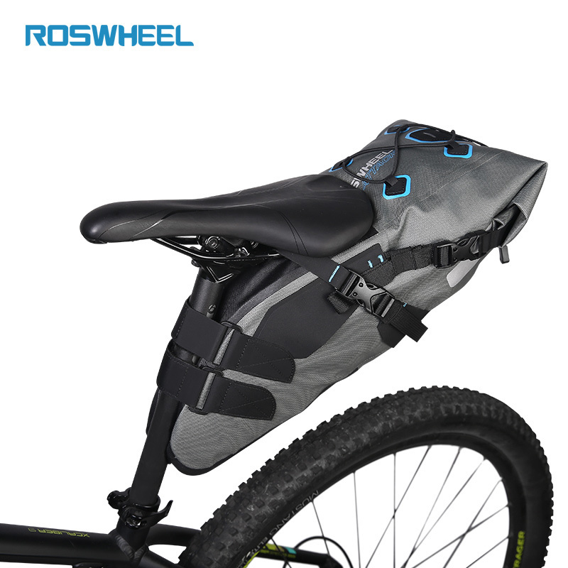 ROSWHEEL ATTACK Large Bicycle Saddle Bag Waterproof Bike Bag Rainproof Seat Pack Cycling Bags Back Seat Rear Bag