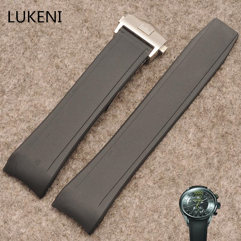 LUKENI 22mm Black Silicone Rubber Watch Strap Belt Bracelet Watchband For TAG Watch Heuer With Logo Deployment Clasp Buckle lukeni 24mm 26mm men s black gray green orange red silicone rubber strap replace panerai pam watchband bracelet without buckle