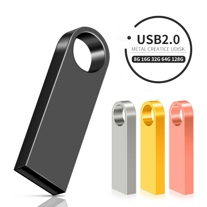 New USB Flash Drive 64GB 32GB 128GB Pen Drive 128 64 32 GB Pendrive Waterproof Metal Silver U Disk Memory Memoria USB Stick
