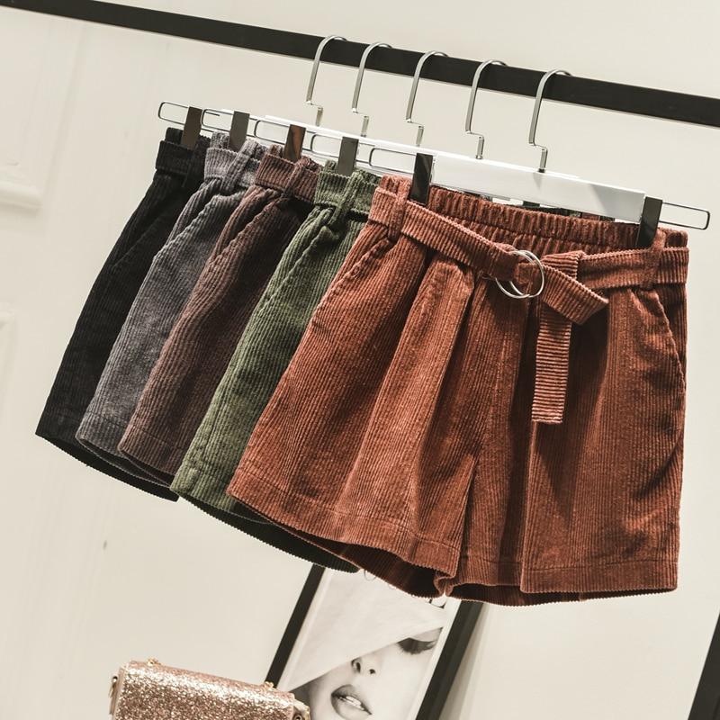 New Autumn Winter Casual Elastic Waist Corduroy   Shorts   Women Vintage Drawstring Wide Leg   Shorts   Loose Sashes   Shorts   Female Mw509