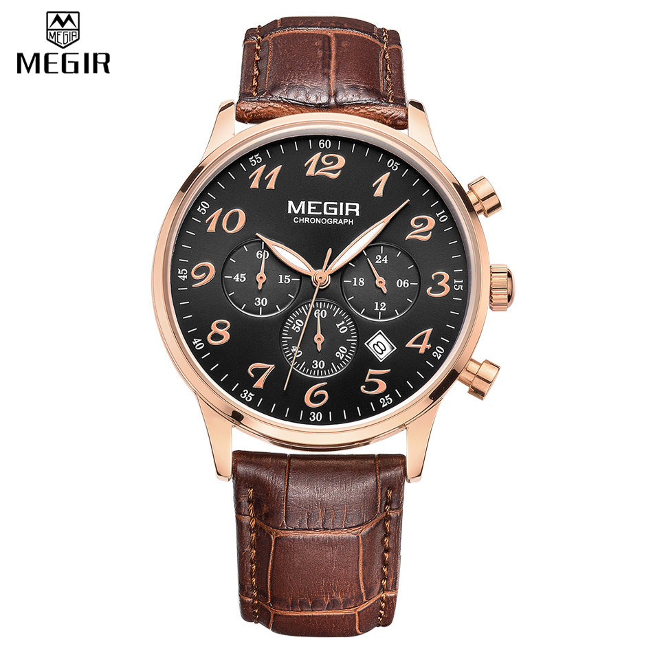 MEGIR Men Chronograph Waterproof Quartz Military Genuine Leather Casual Watches Multifunction Digital Watches Relogio Masculino