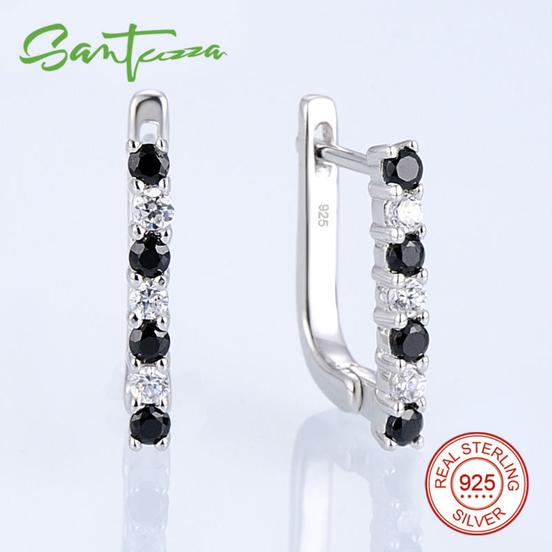 Earrings for Women Natural Stone Black Spinel Cubic Zircon CZ Diamond Sterling Silver Earrings Russian Lock Fashion Jewelry