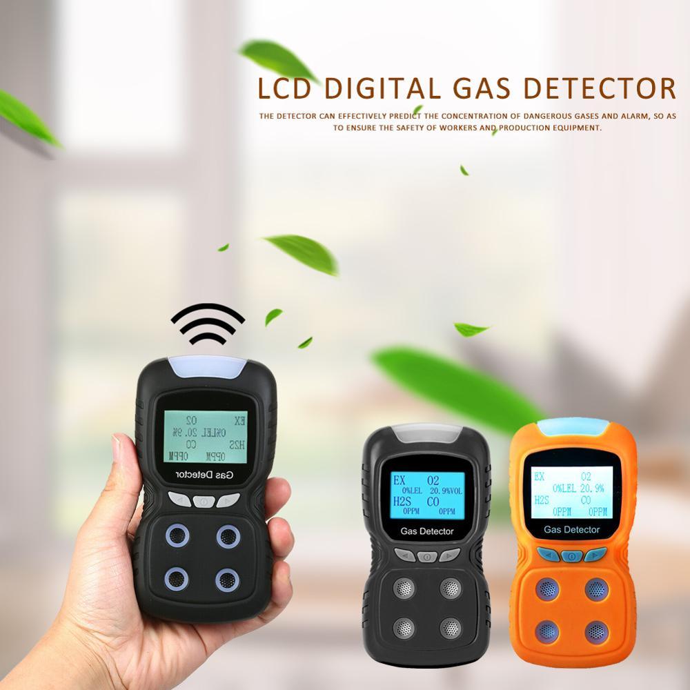 LCD Analisador De Gás 4 em 1 EX/O2/H2S/CO Monóxido De Carbono Monitor de Oxigênio Detector De Gás Inflamável analisador Detector Preto