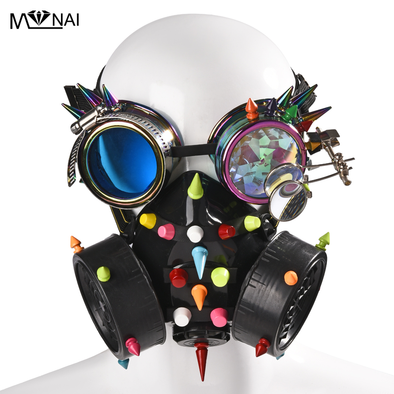 Image 2 - Punk Multi color Rivets Goggles Face Dust Gas Mask Steampunk  Costumes Colorful Spikes Glasses with Mask Set Party HalloweenBoys  Costume Accessories