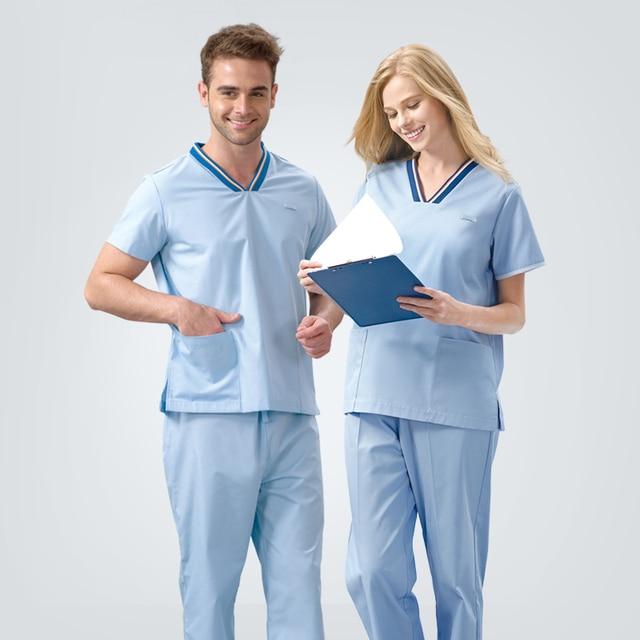c0292e1502e Unisex Nursing Uniforms Medical Scrubs Healthcare Dental Uniform Nurses  Tunics Childcare Work Wear Therapist Clothing Beautian