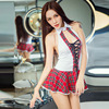 2016 New Fashion Sexy Lingerie Hot College Wind Red Plaid Open Bra Backless Cosplay Student Erotic
