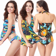Hot Sale Vintage Allover Print With Removable Pad Large Women Swimwear Tankini M.L.XL Bikini Swimwear underwear allover flamingo print ruffle cuff nightdress