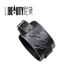 UBEAUTY Mens Black Brown Wolf Head Leather Cuff Bangle, Punk Imprint Wide Leather Bangle Original Jewelry Factory ubeauty punk adjustable double buckles rivets studded cuff bangle genuine cow leather bracelet men