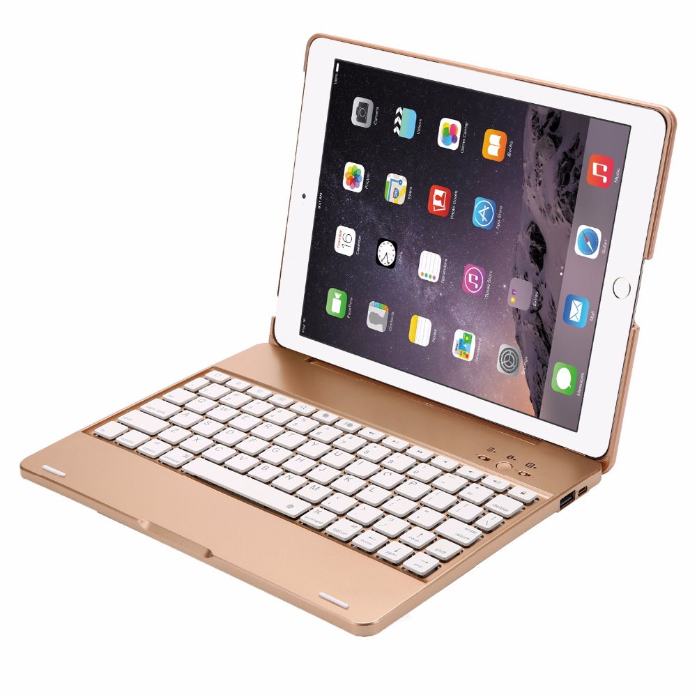 Wireless Bluetooth Aluminum Keyboard Case For IPAD 2/3/4 A1376 A1395 A1397 A1458 A1459 Keyboard 7 COLOR Backlit Folio Cover replacement new lcd display screen for ipad 2 a1376 a1395 a1396 a1397 9 7 inch
