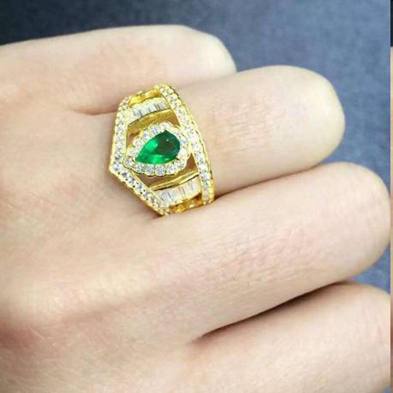 Новый anillos QI xuan_fashion jewelry_colombia зеленый Камни модные rings_plated желтого золота Женщина Rings_Factory непосредственно продаж