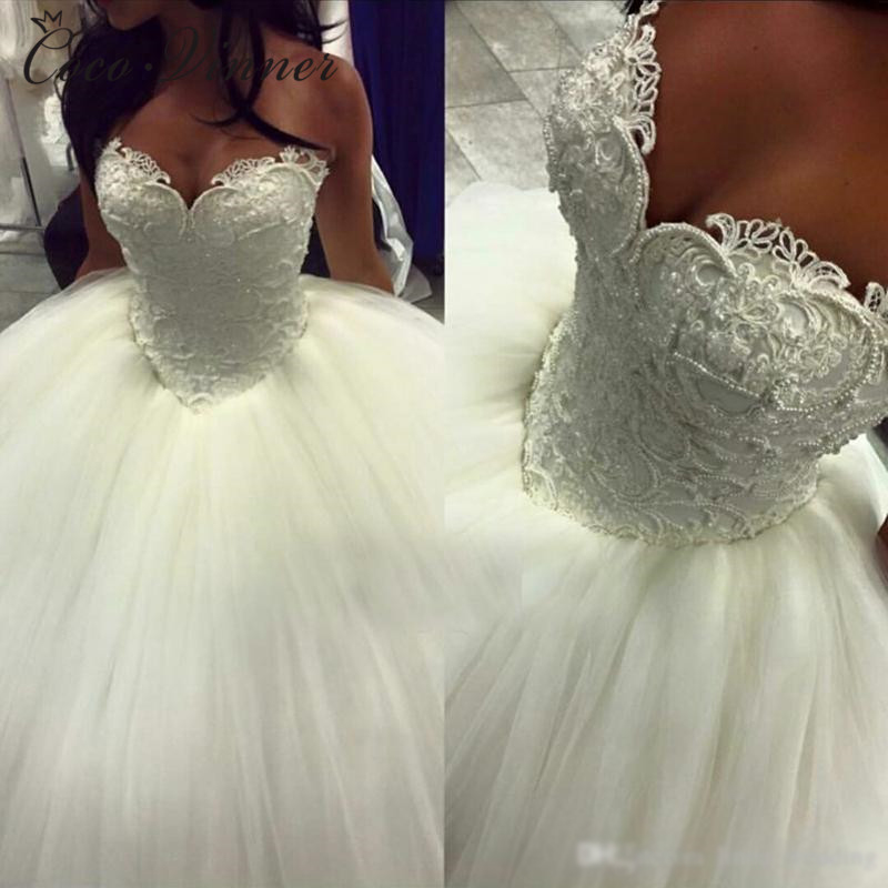 Ball Gown Wedding Dress Pearls Beading Vestido De Novia 2019 Lace Appliques Plus Size White Princess Bride Wedding Dresses W0341