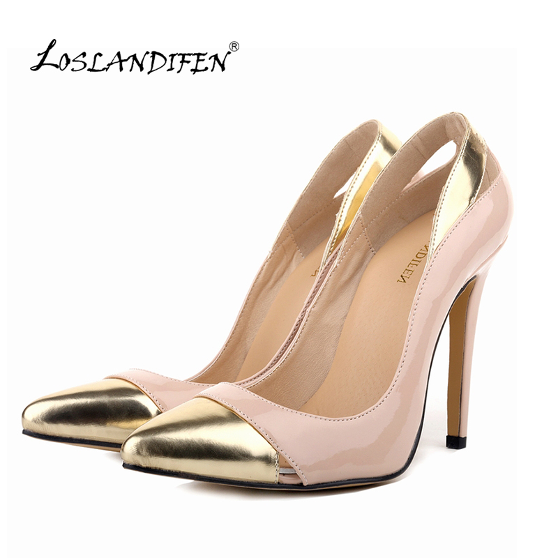 LOSLANDIFEN Classic Sexy Pointed Toe High Heels Women Pumps Shoes Spring Wedding Pumps Big Size 35-42 5 MIX GOLD Color 302-1MIX sexy pointed toe high heels women pumps shoes new spring brand design ladies wedding shoes summer dress pumps size 35 42 302 1pa