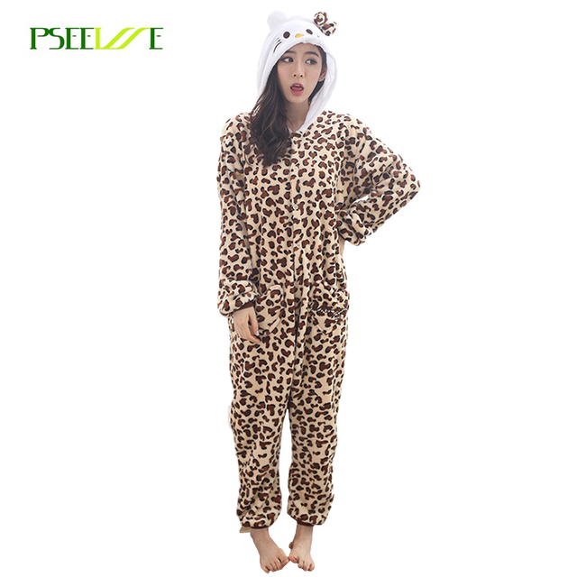 6e029f5141 Nuevo mujer Pijamas Pijama de franela para las mujeres leopardo KT Cat  invierno Onesies para adultos