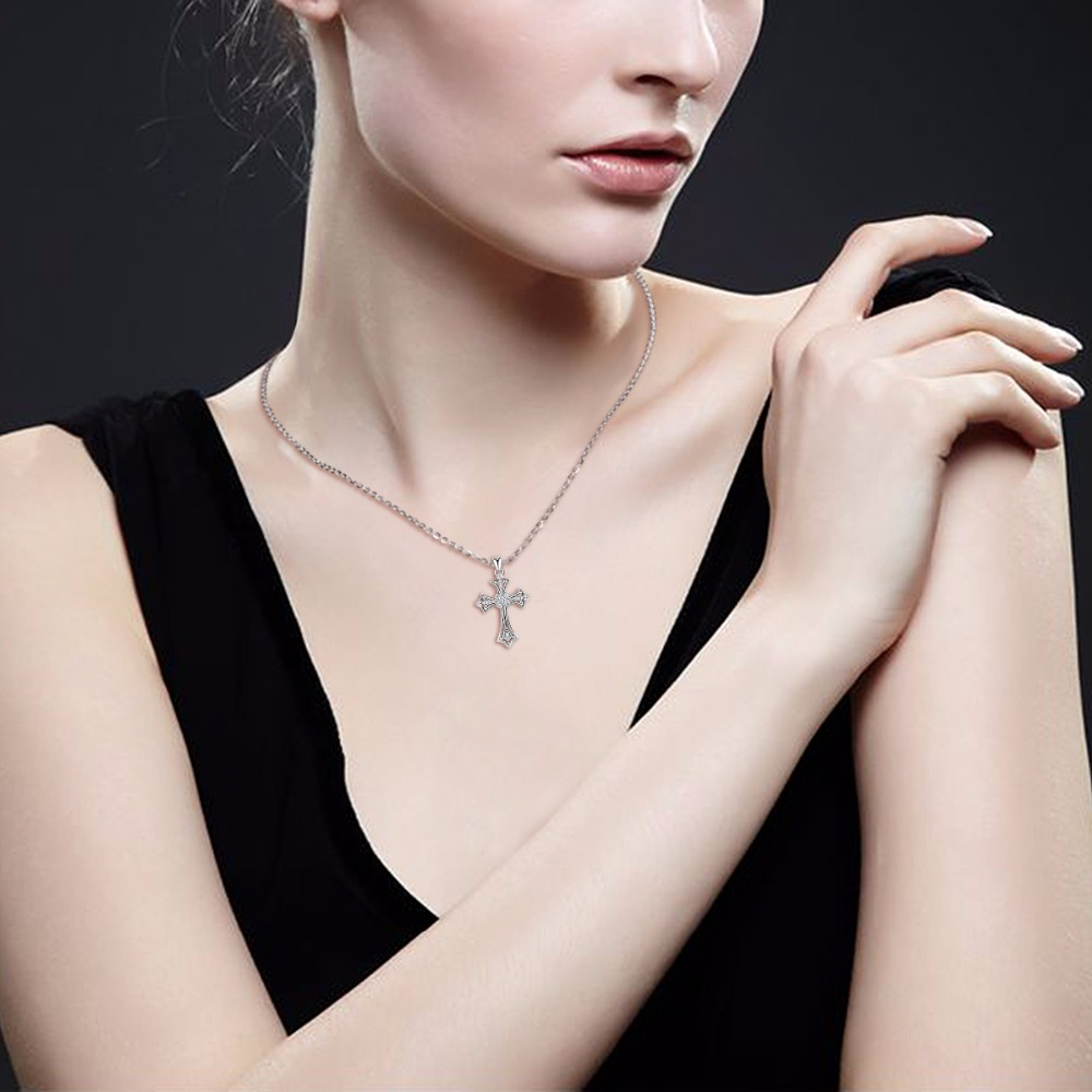 EUDORA 925 Sliver Cross Necklace Fashion CZ Crystal Pendant Necklaces for Women Sterling Silver Cross Choker Fine Jewelry D197 in Pendant Necklaces from Jewelry Accessories