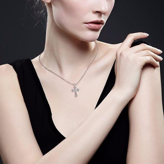EUDORA 925 argent croix collier mode cristal pendentif colliers pour femmes en argent Sterling croix ras du cou Fine bijoux D197