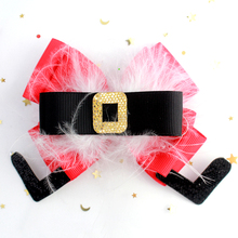 Adogirl Christmas Hair Bows Feather Bowknot Crystal Clips for Girls Ribbon Handmade Boutqiue Accessories Hairgrips