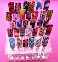 Professional 32 Stick False Tips Display Acrylic Nail Art Display Practice Stand Rack DIY Nail Tool