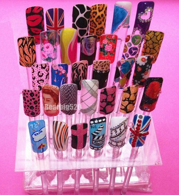 Professional 32tips Stick False Tips Display Transpa Acrylic Nail Polish Art Practice Stand Rack