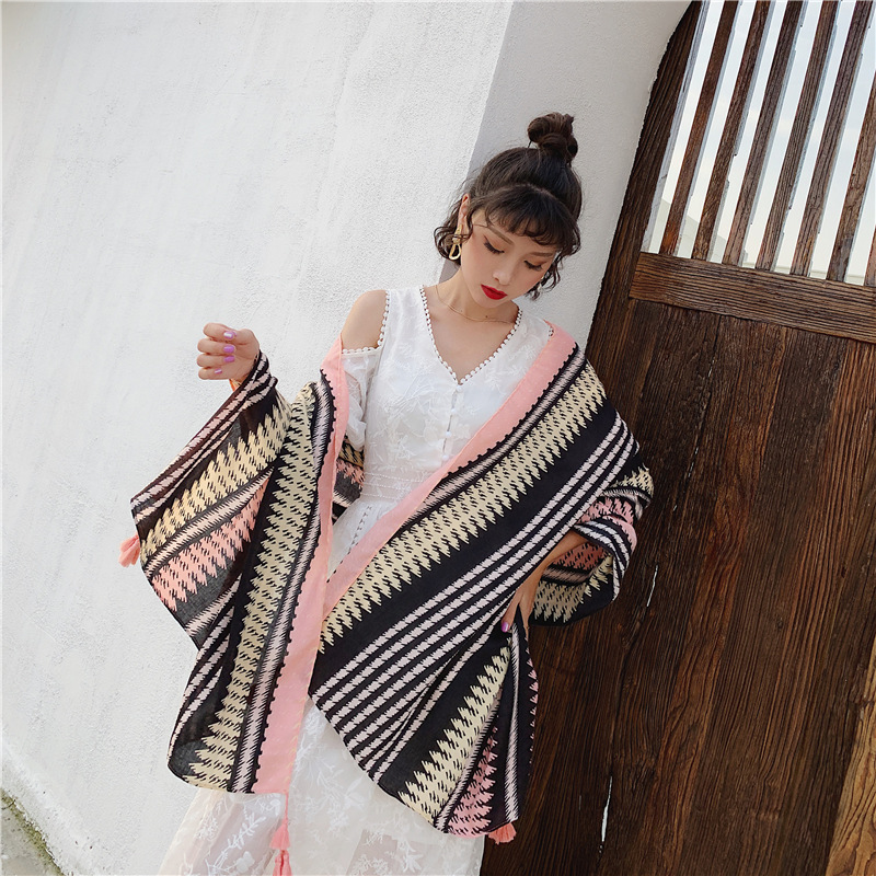 accesorios mujer invierno mujer 2019 women autumn spring Japanese style brief long colorful striped   scarf     wraps   shawl