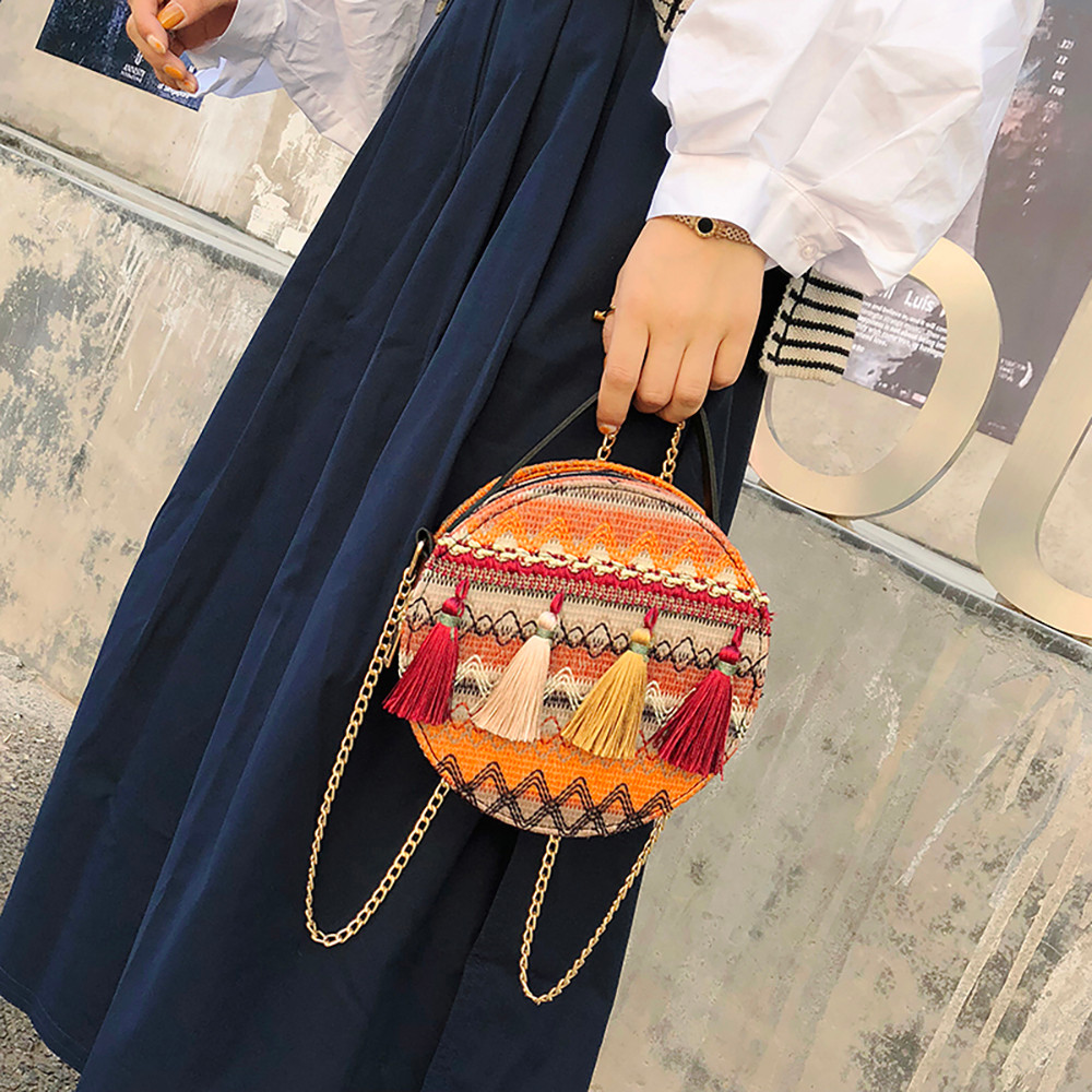 Women Tassel Chain Small Bags national wind round bag packet Lady Fashion Round Shoulder Bag Bolsos Mujer#A02 82