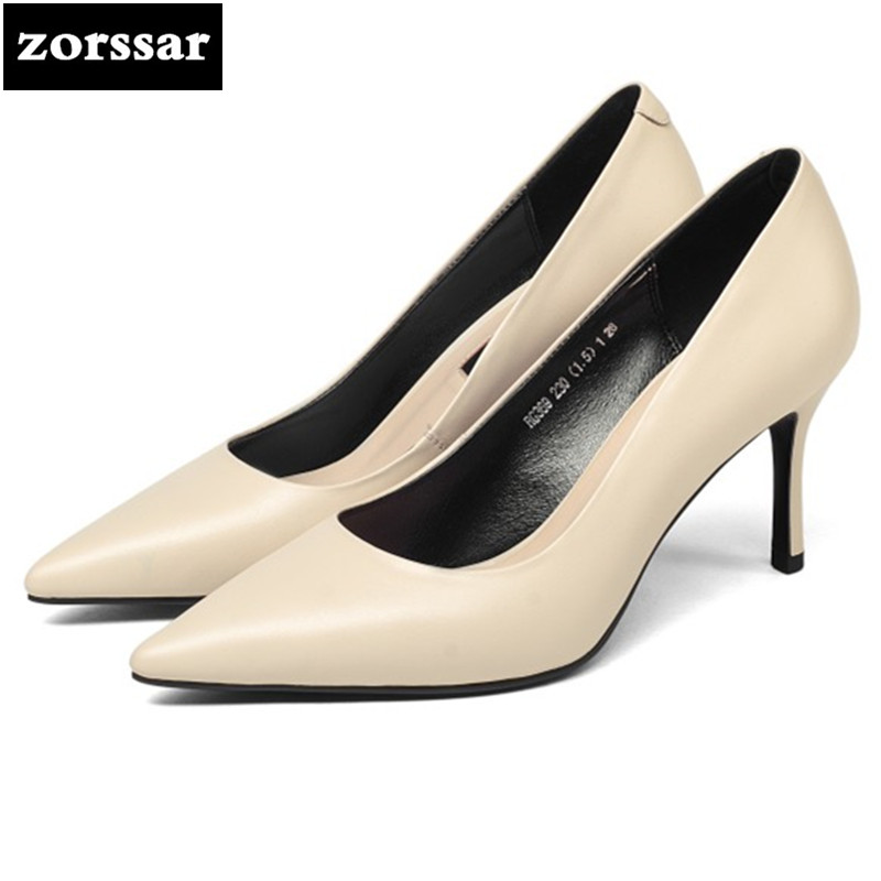 {Zorssar} 2018 New fashion womens pumps shoes Thin Heels Pointed toe Genuine Leather High heels ladies wedding shoes Nude color efbaba leather velvet women pumps wedge wedding shoes womens heels shallow fashion platform shoes tide wild ladies high heels