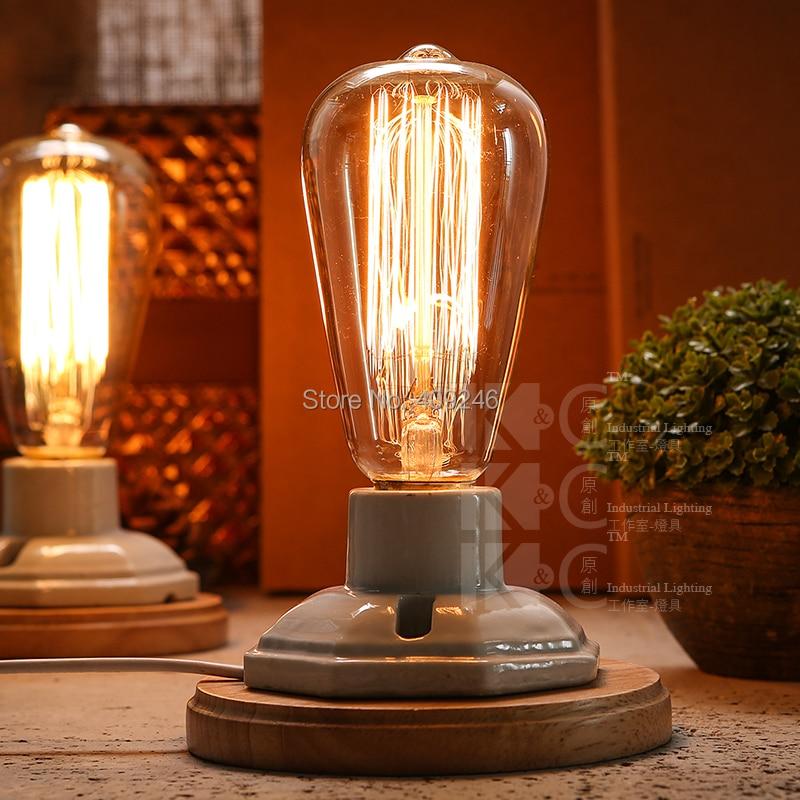 Nordic Industrial Vintage Edison Wooden Ceramics Base Socket E27 Desk Light Table Lamp Restaurant Bedside Party Cafe In Lamps From Lights