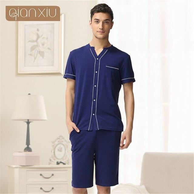 Qianxiu 2017 men Brand Solid Lovers cotton Pajamas Set Fashion Home Apparel Couples Nightwear Pajamas summer Pajamas Suit onesie