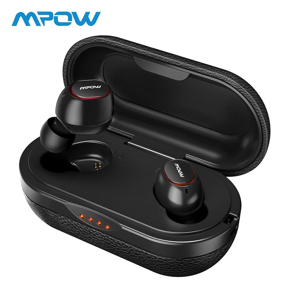 Mpow T5 TWS Bluetooth 5,0 Kopfhörer 3D Stereo Drahtlose Freihändige Kopfhörer IPX7 Wasserdichte Mini AptX Kopfhörer Mit 36 H Spielen zeit
